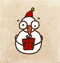 Snowman with Present Cartoon vector image