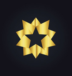 Star 3d gold abstract logo vector