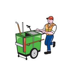 Streeet cleaner pushing trolley cartoon isolated vector