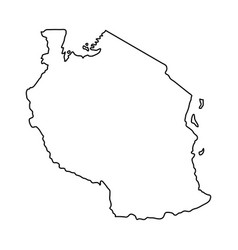 Tanzania map of black contour curves on white vector