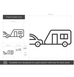 travel trailer line icon vector image vector image
