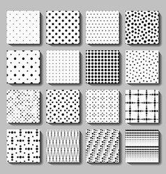 Unusual black white polka dot pattern set vector image vector image