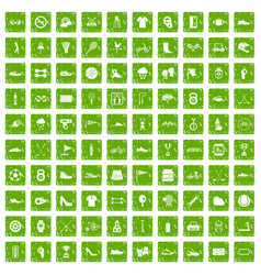 100 sneakers icons set grunge green vector image vector image