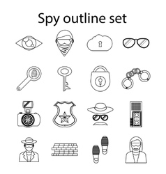 Spy icons set in outline style vector