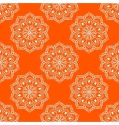 Seamless mandala pattern over orange vector