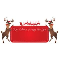 Rudolph Reindeer Christmas Banner vector image