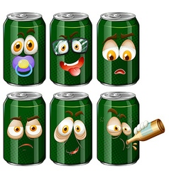 Green cans with facial expression vector