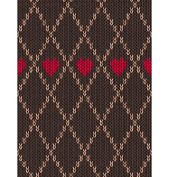 Knitted Pattern with Heart vector image
