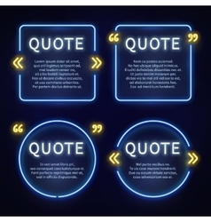 Neon light box 80s frames with quote marks vector