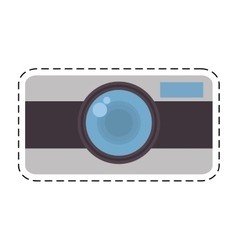Photo camera picture vacation travel cut line vector