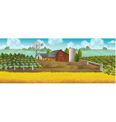 Farm panorama landscape background vector