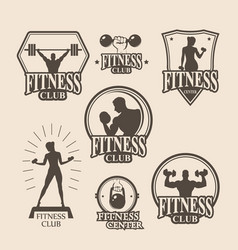 Set of vintage fitness emblem logo icons vector