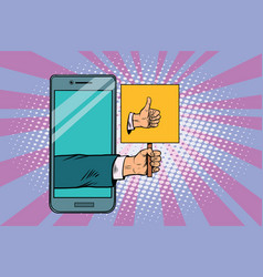 Thumb up gesture smartphone vector