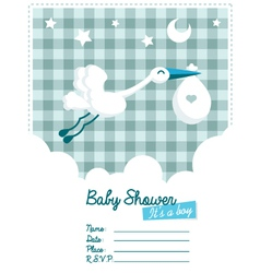 Baby Boy Invitation with Stork vector image