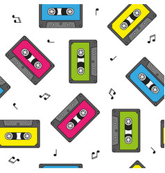 colorful retro cassettes seamless pattern with vector image
