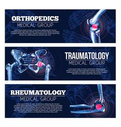 Medical banners orhtopedics traumatology vector