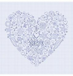 I love the sea heart vector image