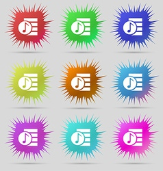 Audio mp3 file icon sign a set of nine original vector