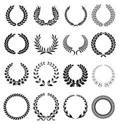 Laurel wreath icons set vector