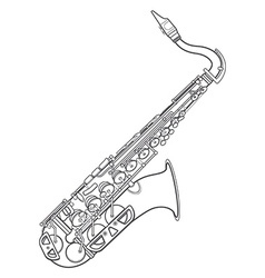 dark monochrome contour brass alto saxophone vector image
