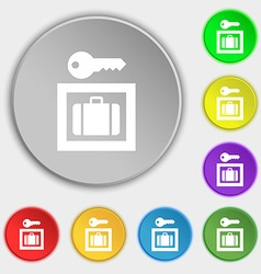 Luggage storage icon sign symbol on five flat vector