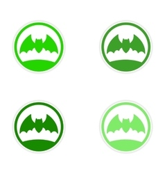 Assembly realistic sticker design on paper bat vector