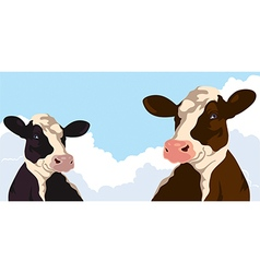 Cows with clouds vector