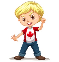 Canadian boy standing alone vector