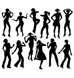 Twelve silhouettes of dancing girls vector image