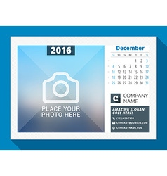 December 2016 desk calendar for 2016 year design vector