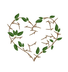 Branch of tree in heart shape wreath vector