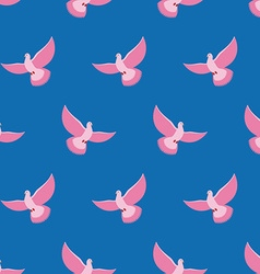 Pink pigeon seamless pattern pink bird is flying vector