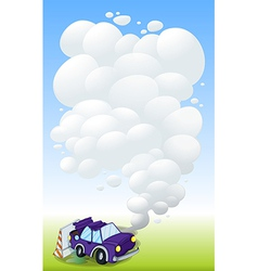 A violet car with smoke vector image vector image