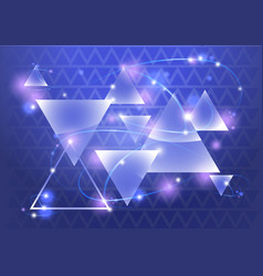 Abstract triangle background with bokeh and flares vector