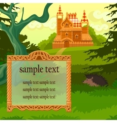 Antique frame and wooden castle vector