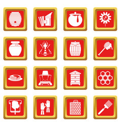 Apiary tools icons set red vector