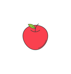 apple solid line icon healthy fruit vector image