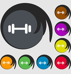 barbell icon sign Symbols on eight colored buttons vector image