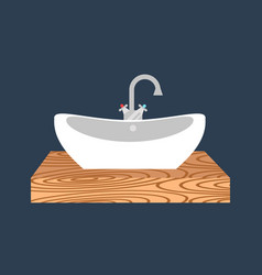 Bathroom washbasin icon colored with process water vector