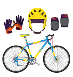 Bicycle bike equipment and protect gear in flat vector
