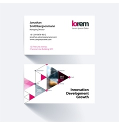 Business card template with triangles vector