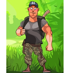 cartoon male hikers on nature vector image vector image