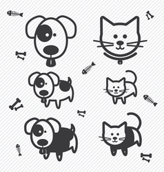 Cat and Dog icons vector image vector image
