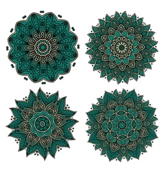 Circular green patterns with decorative elements vector image vector image