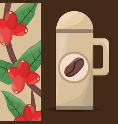 Coffee thermos tree bean vector