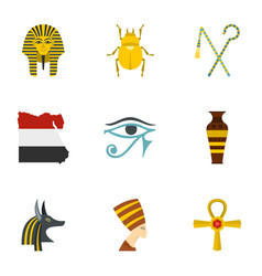 Egypt history icons set cartoon style vector