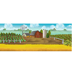Farm panorama landscape background vector