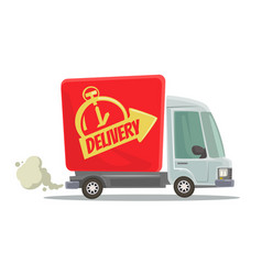fast delivery truck isolated red car moving vector image