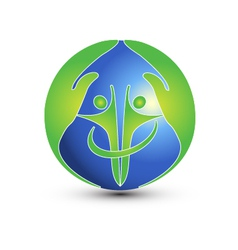 Hands and people protect the world logo vector image vector image