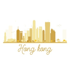 Hong Kong City skyline golden silhouette vector image